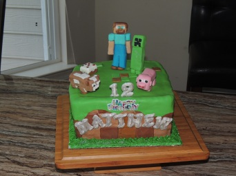Boy's Minecraft themed Cake